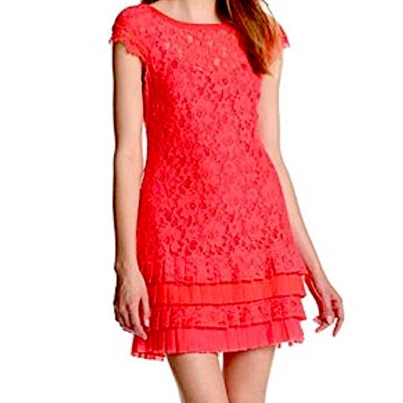 Jessica Simpson orange lace Mini dress